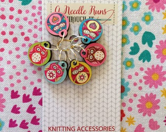 Color Owls Stitch markers set, cute owls stitch markers for knitting.