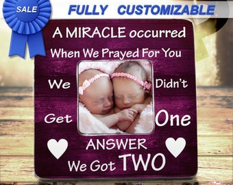 Twins new baby gift twin frame boy twins girl twins gift for girl twins twin girl gifts twin baby gift twins picture frame personalized picture frame baby shower gift for twins gift twin sisters frame negle Choice Image
