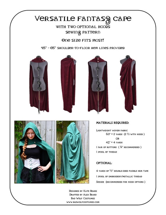 Versatile Fantasy Cape Sewing Pattern Fantasy Roman cloak