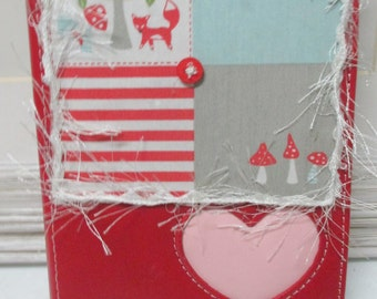 Red Photo Album With Hand Decorated Front - Holds 4X6 Photos