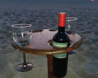 Beach Wine Table -  Wine Glass and Bottle Table for Four Wine Glasses - Outdoor Wine Table