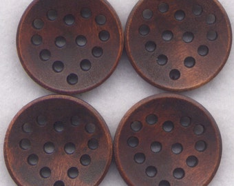 Lace Cut Wood Buttons Dark Chocolate Brown Heart Wooden 24mm (1 inch) Set of 8 /BT193B