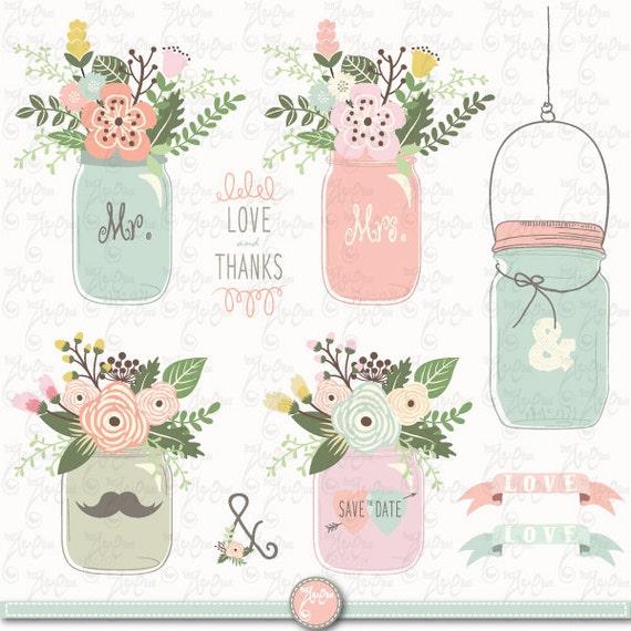 Hand Draw Mason Jar Clipart Floral Rustic Flower Wedding Vintage 24 Images 300 Dpi 24Png Files Instant Download Wd137