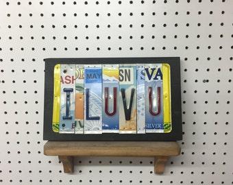 License Plate Sign License Plate letter Art Picture Home Deco I LUV U License Plate Letter Sign i love you