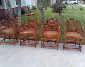 Set Of 4 Vintage Mid Century Brighton Pavillion Burnt Bamboo Arm Chairs