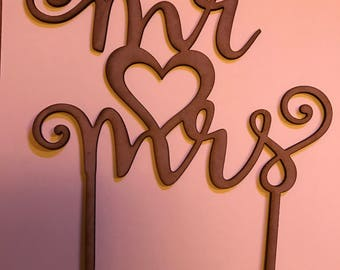 Mr Mrs wedding cake topper