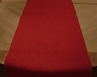 "14"" x 90"" Red Burlap Table Runner (Serged edges)"