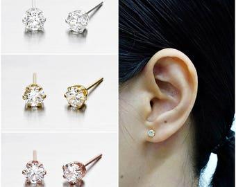 925 Sterling Silver Earrings, CZ Earrings, Cubic Zirconia Earrings, Gold Plated, Rose Gold Plated, Stud Earrings, Size 4 mm (Code : EG46)