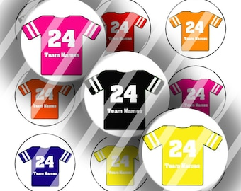 "Editable Bottle Cap Collage Sheet - Sports Jerseys (127) - 1"" Digital Bottle Cap Images"