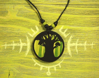 Black Tree Jewelry Nature Pendant Green Forest Jewelry Handpainted Pendant Oak Forest Jewelry Traveler Jungle Trees Forest Painting Pendant