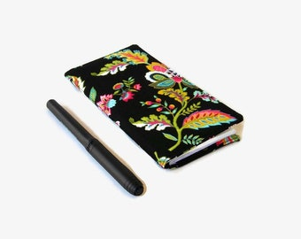 Black Floral Fabric Checkbook Cover - Coupon or Receipt Holder - Floral Checkbook Holder - Purse Accessory Organizer