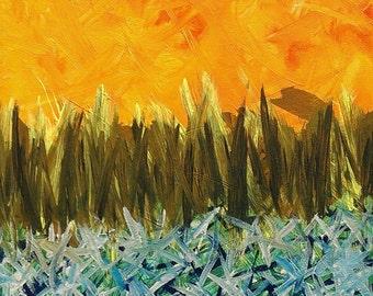 Orange, blanc, bleu, noir et jaune Original acrylique peinture abstraite sur toile «série 7 II» Galerie d'Art, Art moderne, Design d'intérieur