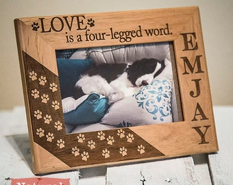 Personalized Dog Picture Frame Engraved on Wood - Dog Lover Christmas Gift - Love Is A Four Legged Word- Dogs Name Picture Frame