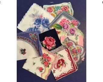 10 Vintage Floral Handkerchiefs - Lot W1