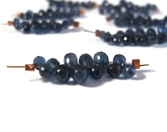 Mini Strand of Natural Sapphire Beads, 15 Sapphire Briolettets, Faceted Gemstones for Making Jewelry, 5mm x 3mm - 7mm x 4mm (Luxe-Sa7a)