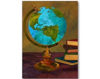 Vintage World globe - GRADUATION Card or PRINT - Childhood Memories -You mean the world to me (CMEM2013021)