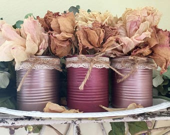 3 Shabby Chic Metallic Rose Golds Hand Painted Tin Can Vases Home Dorm Office Decor Wedding Centerpieces Decoration by Sweet Vintage Designs
