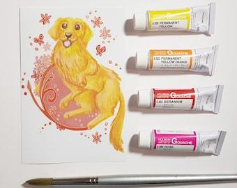 Floral Golden Retriever Gouache Paint Art Print