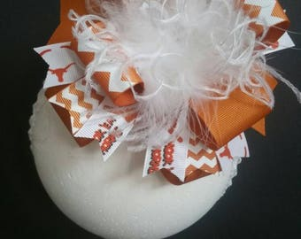 Hook 'Em Horns Texas Longhorns Over The Top Boutique Hairbow Headband Hairclip Ostrich Feather