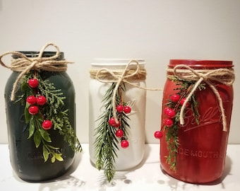 Holiday mason jars, Christmas mason jars