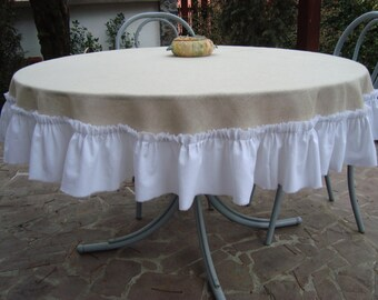 Round Burlap Tablecloth with ruffels Handmade Table Decor Rustic chic Tablecloth
