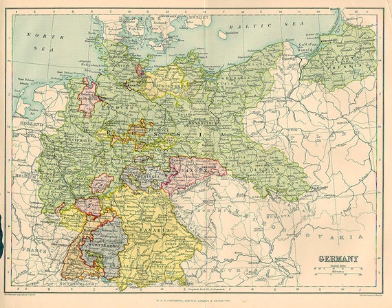 Large Map of Germany Empire 1924 atlas antique map Berlin