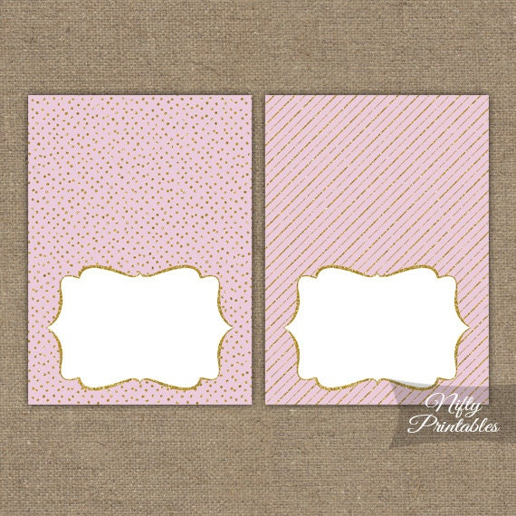pink gold food tent cards pink gold place cards printable