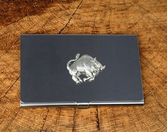 Taurus The Bull Business Credit Card Holder Birthday Gift FREE ENGRAVING