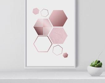 Contemporary Art Print, Rose Gold Hexagon, Geometrical Art Print, Modern Wall Art, Gift for art lovers, Chirstmas gift idea, room decor