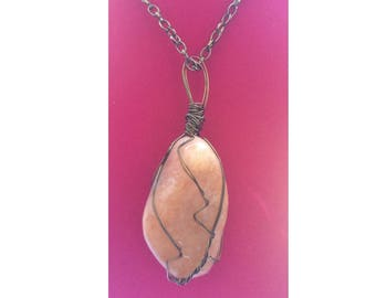 Orange Calcite Pendant, Handmade, Wire Wrapped Crystal (Brass Wire #1)