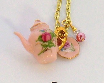 SALE! Pink china teapot charm necklace, gold, pink, and green teapot, saucer dish, swarovski crystal pearl, tea time gifts under 20