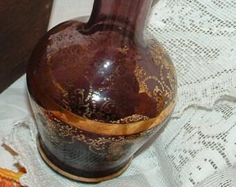 Victorian Antique Purple Brown Glass Vase handblown glass with Gold gilt Flowers