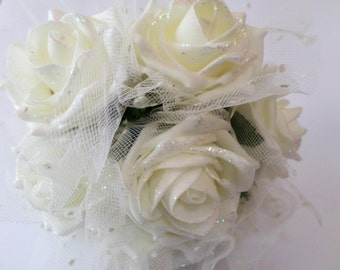 Large Wedding Bouquet in Ivory Glitter Roses with Ivory Netting