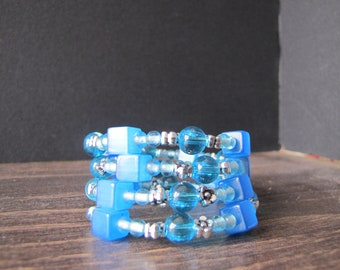 Blue memory Wire Bracelet / Memory wire bracelet Blue
