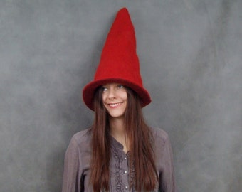 Red Gnome Hat| Felt Gnome Hat| Adult Wizard/Witch Costume Hat| Halloween Costume Hat| Dwarf Hat| Pointy Gnome Hat| Costume Hat Handfelted