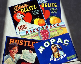 Mid 1900's ORIGINAL PAPER LABELS - Group of 5 Colorful Labels for Food Cans and Crates - (Listing #9 of Many for the Labels.)