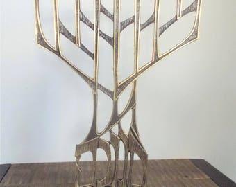 "Mid Century Oppenheim Israel 14"" Brutalist Style Brass Menorah"