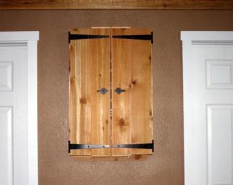 Rustic Rough Sawn Dart Board Cabinet