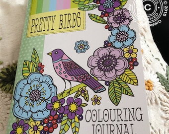 Pretty Birds A5 Colouring Journal, Colouring Notebook, Adult Colouring Book, Colouring Diary