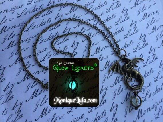 Magical Winged Dragon with Caged Glowing Orb Egg Pendant Necklace