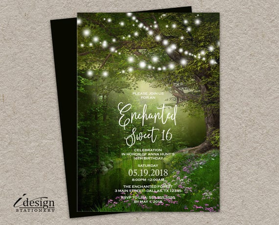 Enchanted Forest Themed Wedding Invitations: Enchanted String Lights Sweet 16 Invitation Printable
