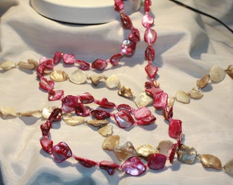 Beige or Pink Mother of Pearl Shell Link Necklace