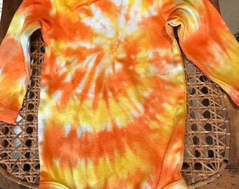 Tie Dye Yellow and Orange Candy Corn Long Sleeve Onesie - size 9 Months