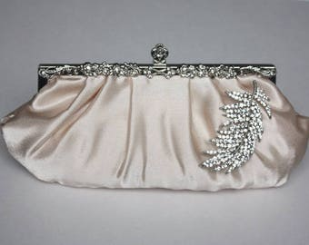 Bridal Clutch - champagne satin with Swarovski Crystal feather brooch. ready to ship.