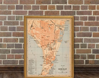 Bombay map - Old map of Bombay fine print - Wonderful map print for wall decoration
