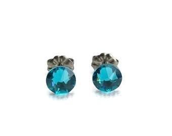 Titanium Stud Earrings Blue Zircon Swarovski Crystal on Titanium Posts for Sensitive Ears, Hypoallergenic Titanium Jewelry