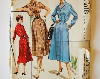 Vintage 1950s McCall Pattern 3618 / Bust 34 / Size 16 / Misses' Shirtwaist Day Dress