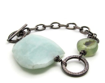 Large Statement Bracelet - Silver Amazonite Bracelet -Beach Jewelry - Blue Gemstone Bracelet - Bracelet for Small Wrist-Large Stone Bracelet