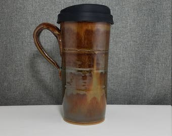 IN STOCK* Pottery Travel mug / Commuter mug with silicone lid - Honey