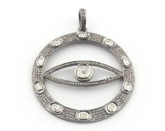 April Sale 1 PC Pave Diamond Evil Eye With Rose Cut Diamond Round Pendant - 925 Sterling Silver 48mmx44mm PD1455